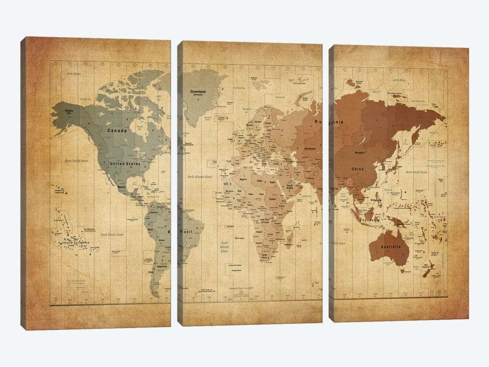 Map of The World III by Michael Tompsett 3-piece Canvas Print