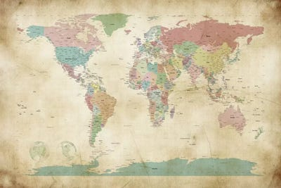 World cities map framed art print by michael tompsett icanvas canvas gumiabroncs Choice Image