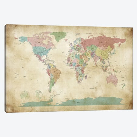 World Cities Map Canvas Print #8775} by Michael Tompsett Art Print