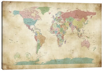World Cities Map Canvas Art Print