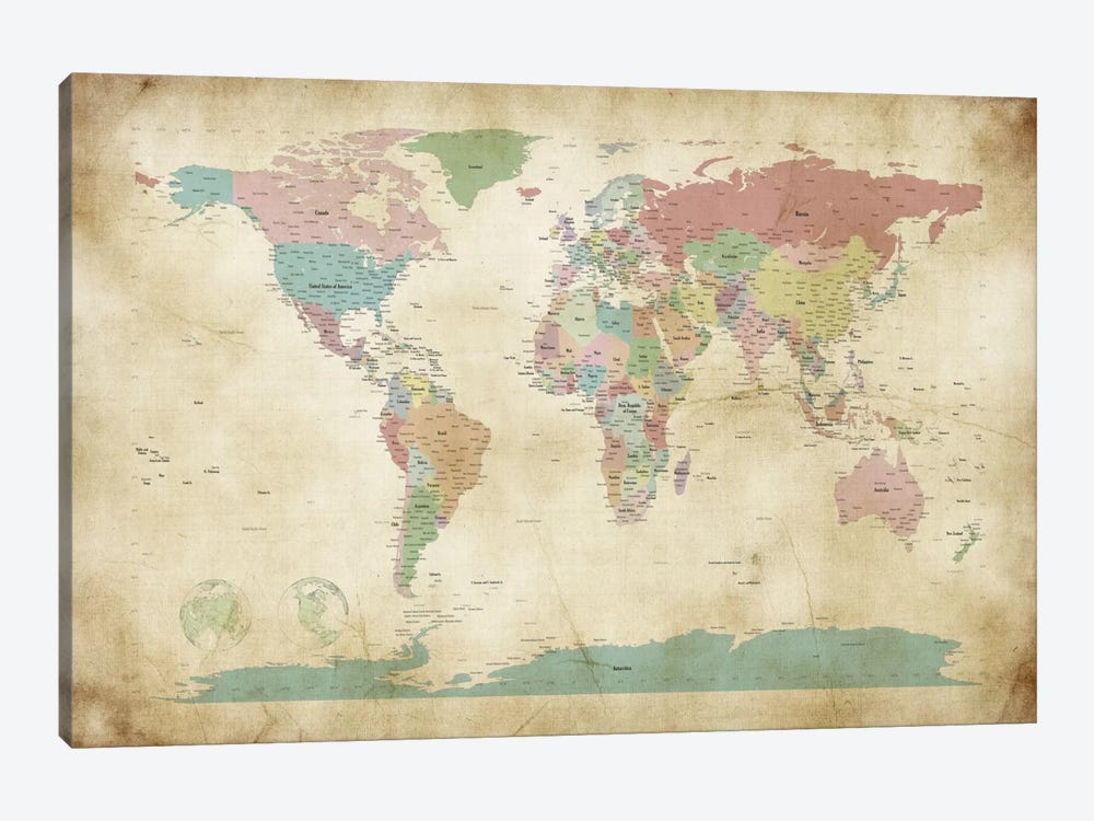 World Cities Map by Michael Tompsett 1-piece Canvas Art