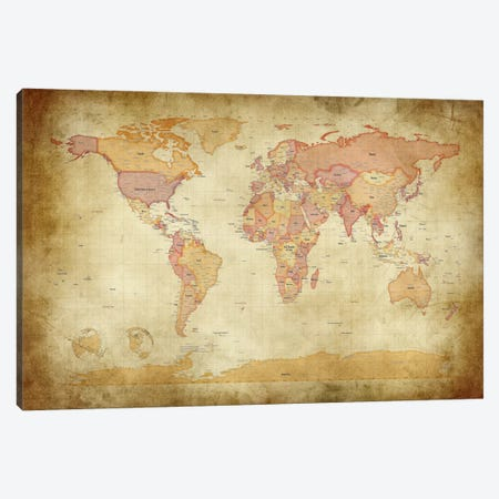 Map of The World II Canvas Print #8776} by Michael Tompsett Art Print