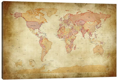 Map of The World II Canvas Art Print