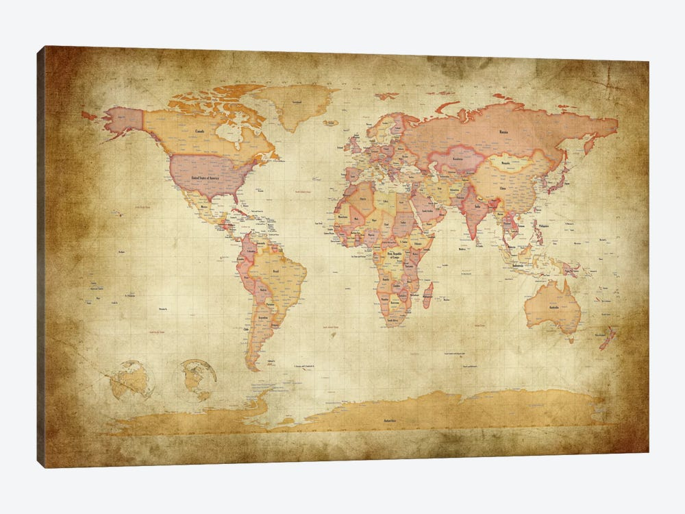 Map of The World II by Michael Tompsett 1-piece Art Print