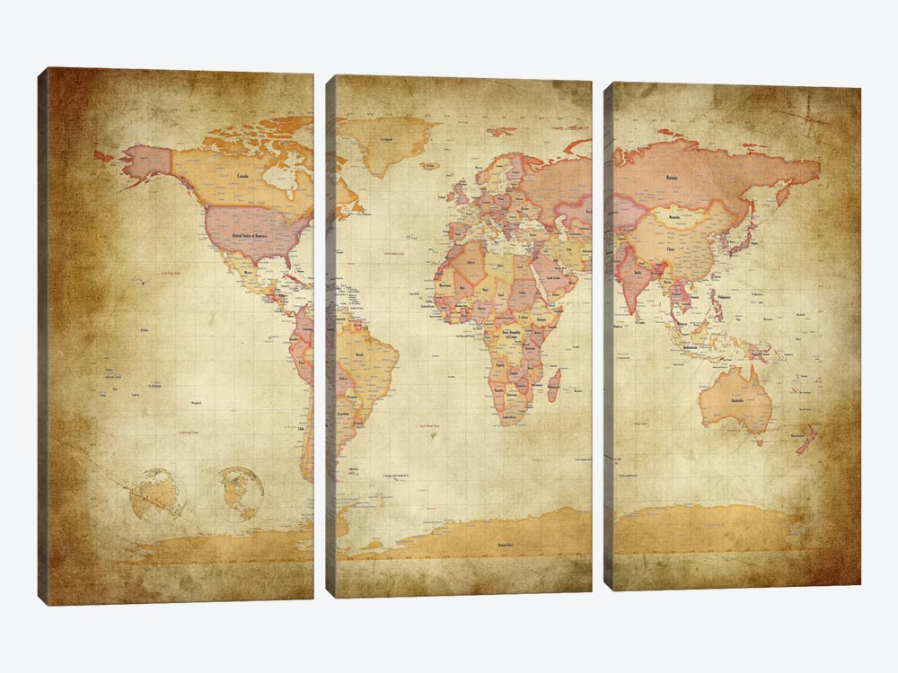 Map of The World II by Michael Tompsett 3-piece Canvas Print