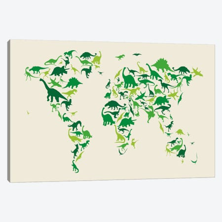 Dinosaur Map of The World Canvas Print #8777} by Michael Tompsett Canvas Print