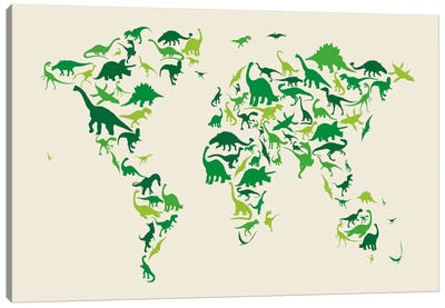 Dinosaur Map of The World Canvas Art Print