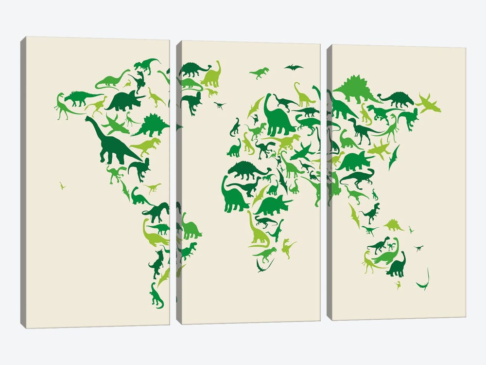Dinosaur Map of The World by Michael Tompsett 3-piece Canvas Art