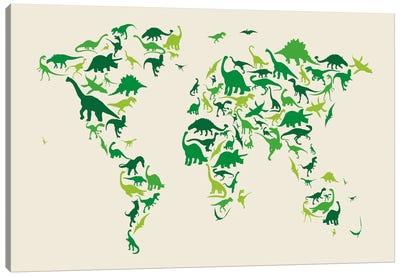 Dinosaur Map of The World Canvas Art Print