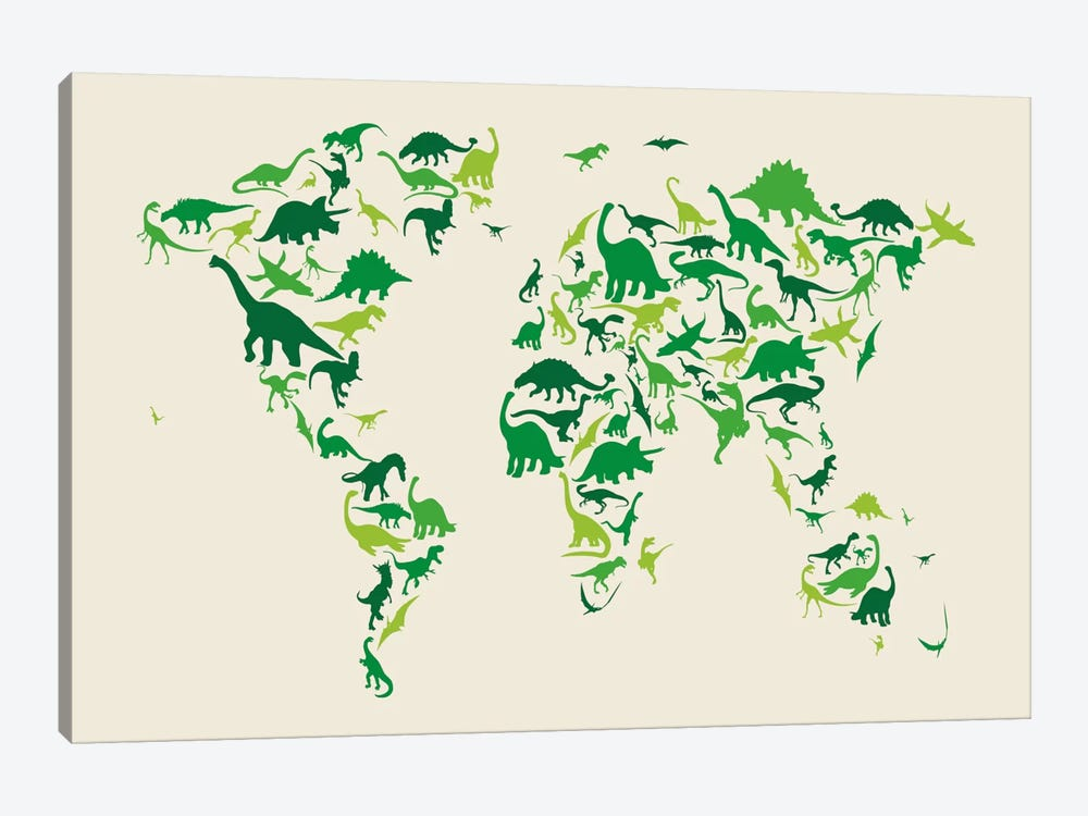 Dinosaur Map of The World by Michael Tompsett 1-piece Canvas Art