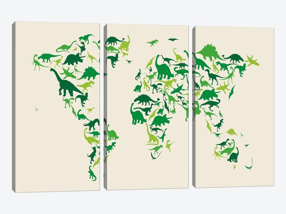 Dinosaur Map of The World by Michael Tompsett 3-piece Canvas Art