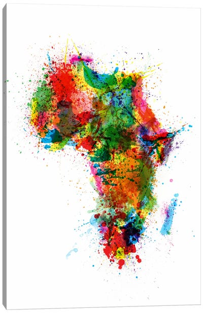 Paint Splashes Map of Africa Canvas Art Print