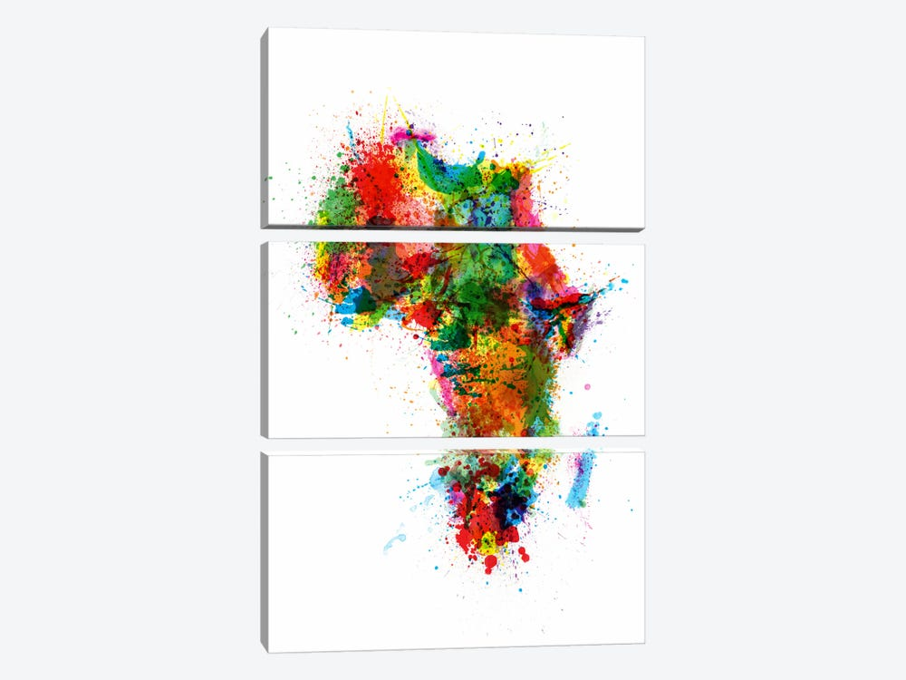 Paint Splashes Map of Africa by Michael Tompsett 3-piece Canvas Art Print
