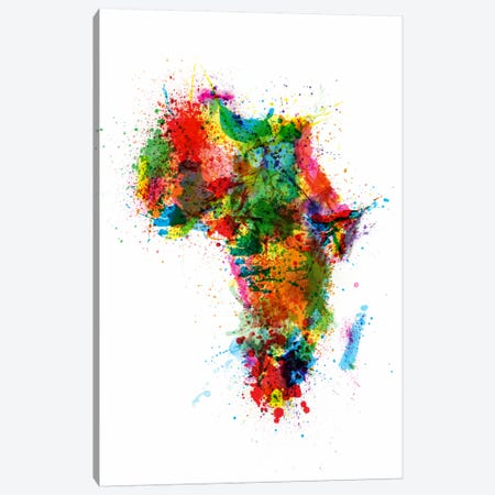 Paint Splashes Map of Africa Canvas Print #8778} by Michael Tompsett Canvas Artwork