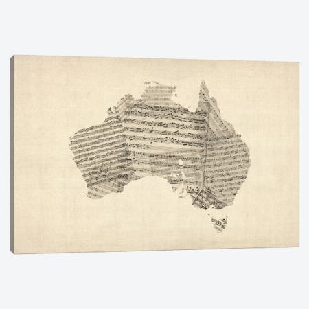Australia Sheet Music Map Canvas Print #8779} by Michael Tompsett Canvas Artwork
