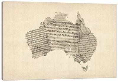 Australia Sheet Music Map Canvas Art Print