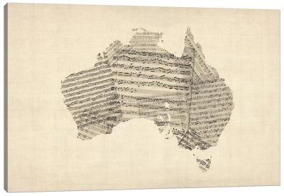 Australia Sheet Music Map Canvas Print #8779