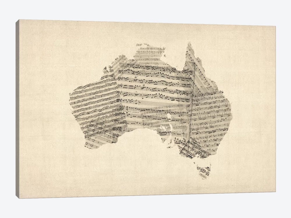 Australia Sheet Music Map by Michael Tompsett 1-piece Canvas Art