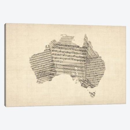 Australia Sheet Music Map Canvas Print #8779} by Michael Tompsett Canvas Artwork