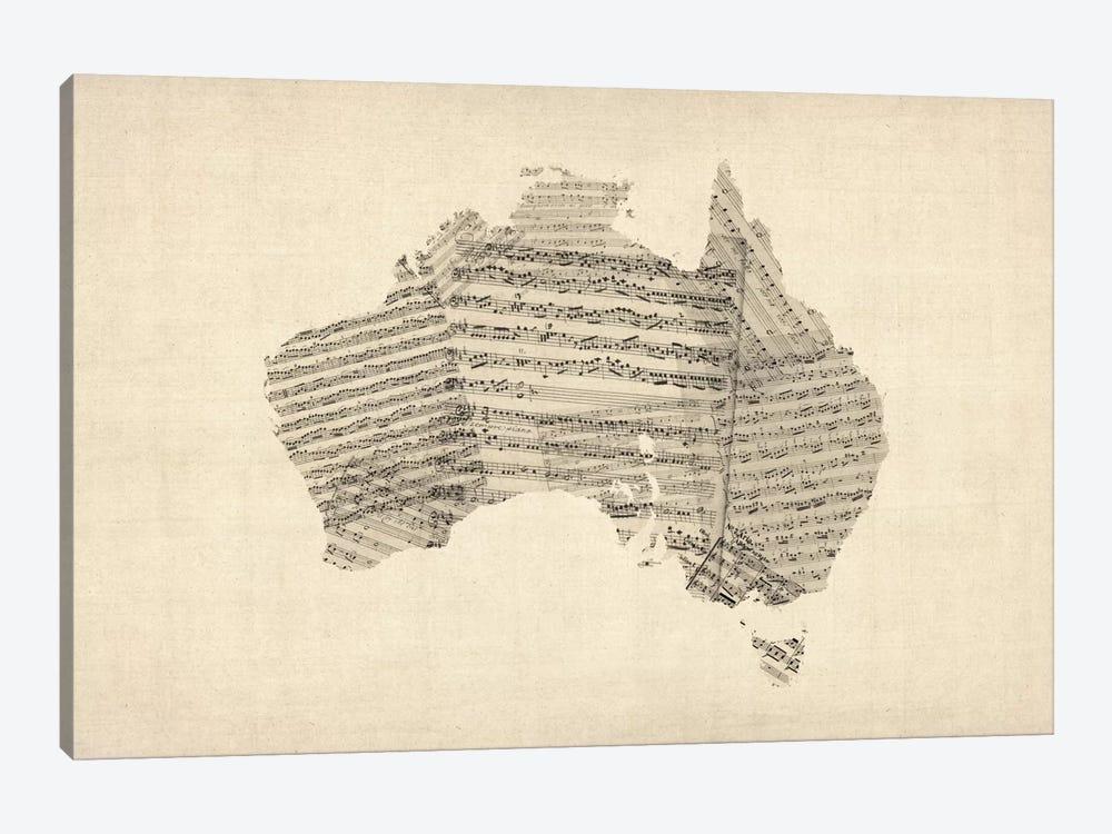 Australia Sheet Music Map by Michael Tompsett 1-piece Canvas Art