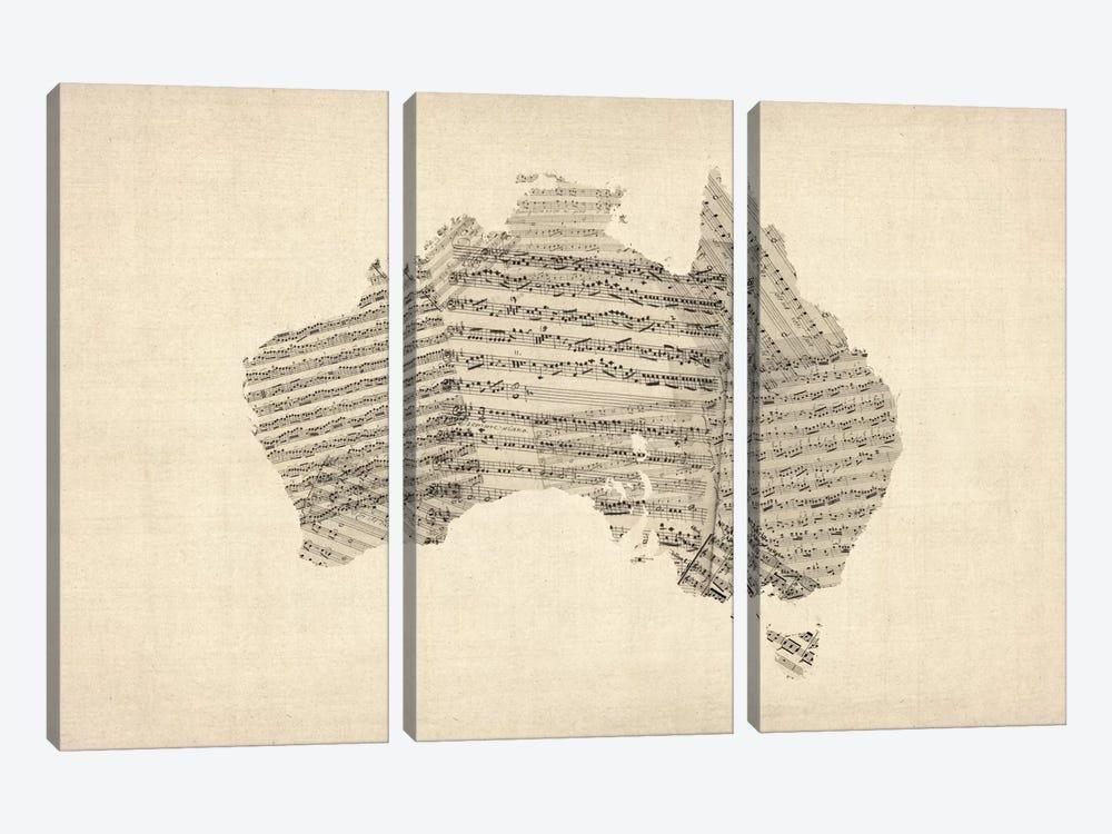 Australia Sheet Music Map by Michael Tompsett 3-piece Canvas Artwork