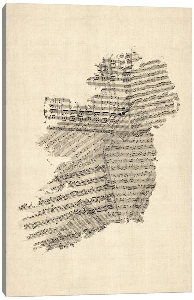 Ireland Sheet Music Map Canvas Art Print
