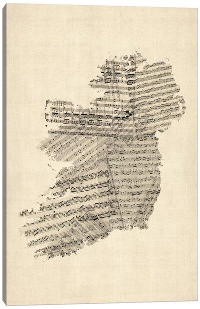 Ireland Sheet Music Map Canvas Art Print