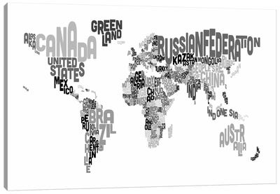 Typographic Text World Map V Canvas Print #8781