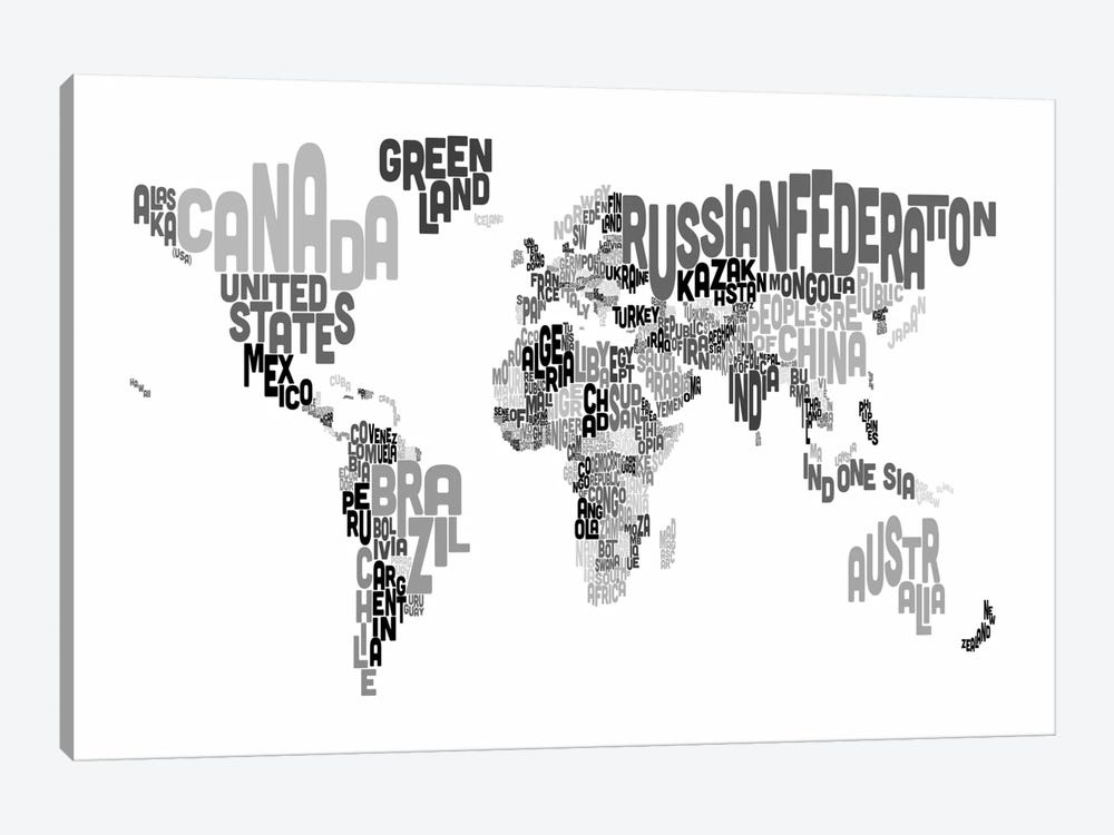 Typographic Text World Map V by Michael Tompsett 1-piece Canvas Art Print
