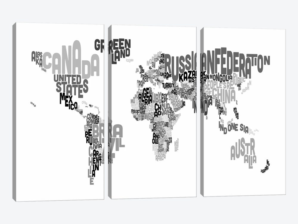 Typographic Text World Map V by Michael Tompsett 3-piece Canvas Art Print