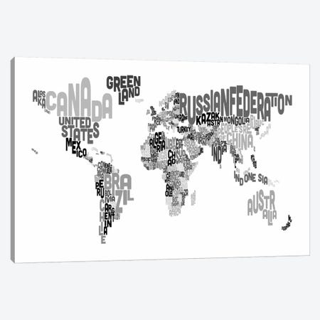 Typographic Text World Map V Canvas Print #8781} by Michael Tompsett Canvas Art Print
