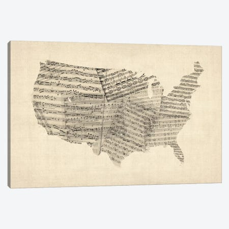 United States Sheet Music Map Canvas Print #8782} by Michael Tompsett Canvas Art Print
