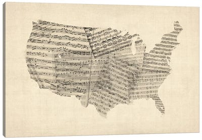 United States Sheet Music Map Canvas Art Print