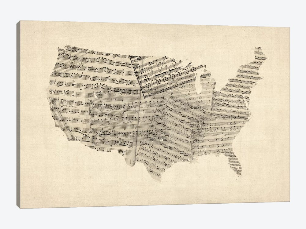 United States Sheet Music Map by Michael Tompsett 1-piece Canvas Wall Art