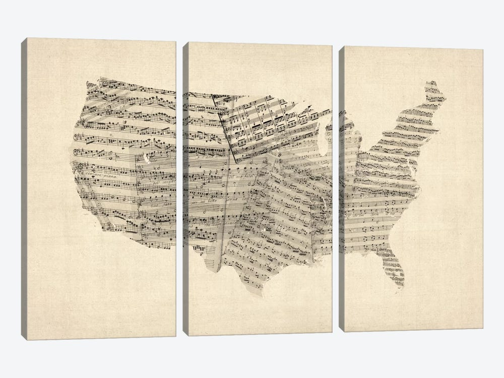 United States Sheet Music Map by Michael Tompsett 3-piece Canvas Artwork