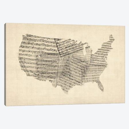 United States Sheet Music Map Canvas Print #8782} by Michael Tompsett Canvas Art Print
