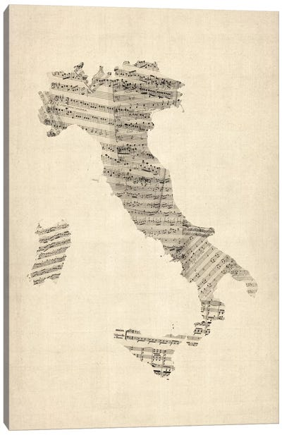 Italy Sheet Music Map Canvas Print #8783