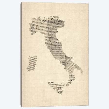 Italy Sheet Music Map Canvas Print #8783} by Michael Tompsett Canvas Art Print