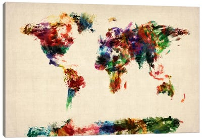 Map of The World (Abstract painting) Canvas Print #8784