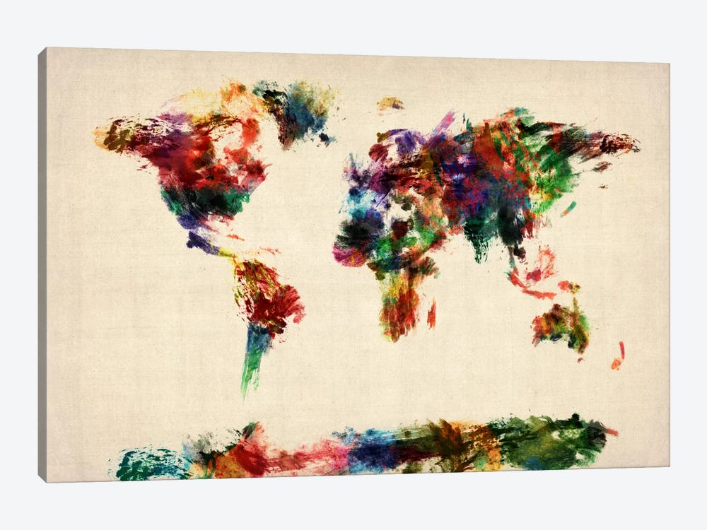 Map of The World (Abstract painting) by Michael Tompsett 1-piece Canvas Art