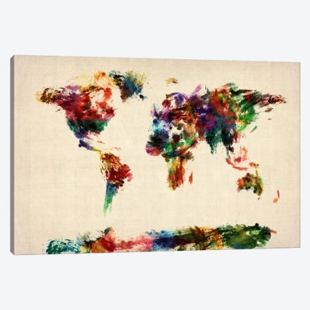 Map of The World (Abstract painting) Canvas Print #8784} by Michael Tompsett Canvas Art