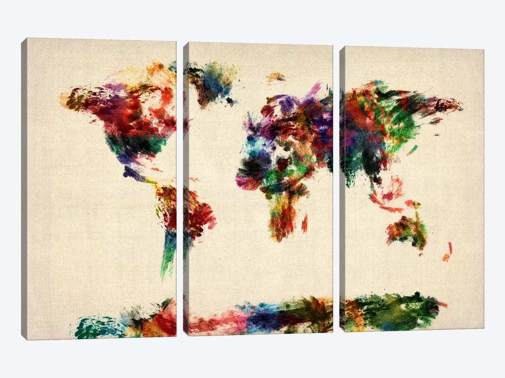 Map of The World (Abstract painting) by Michael Tompsett 3-piece Canvas Art