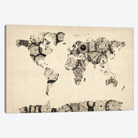 Map of the World Map from Old Clocks Canvas Print #8785} by Michael Tompsett Canvas Wall Art