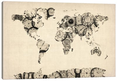 Map of the World Map from Old Clocks Canvas Art Print