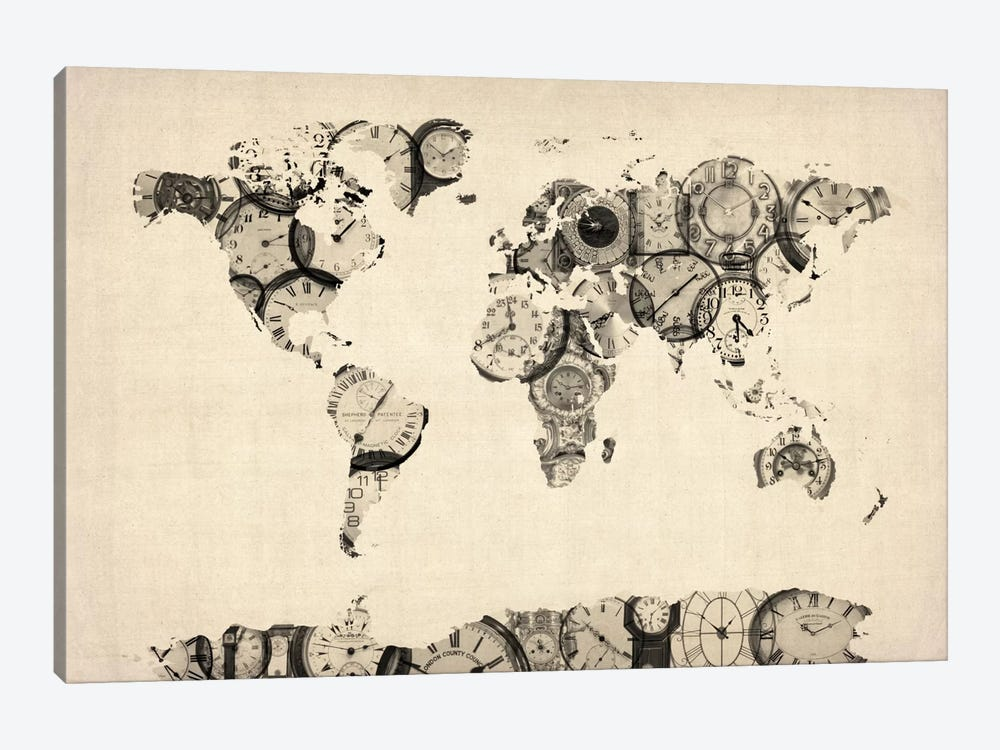 Map of the World Map from Old Clocks by Michael Tompsett 1-piece Canvas Art Print