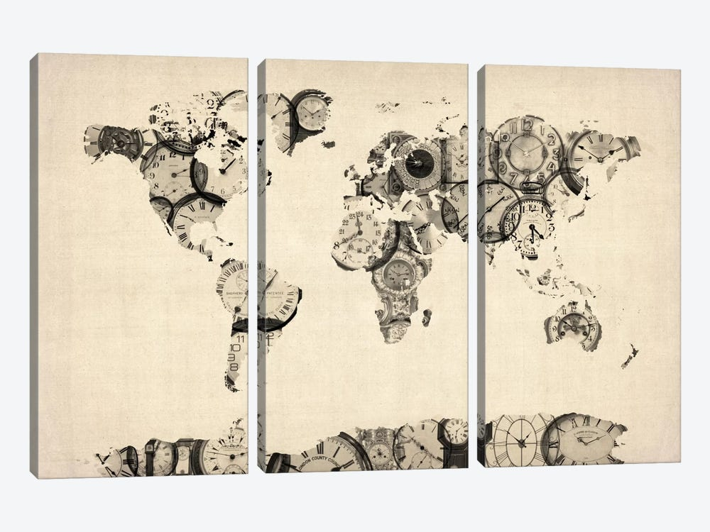 Map of the World Map from Old Clocks by Michael Tompsett 3-piece Art Print