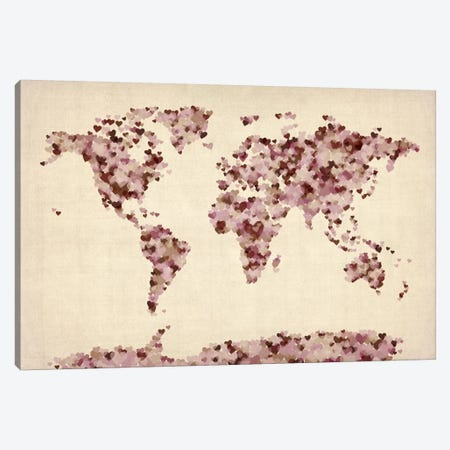 Vintage Hearts World Map Canvas Print #8786} by Michael Tompsett Canvas Wall Art