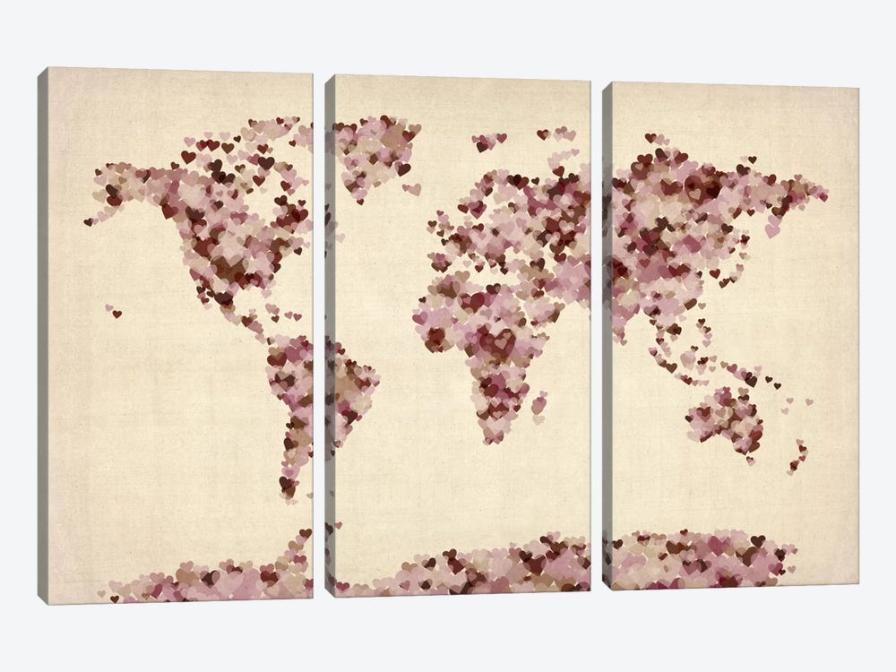 Vintage Hearts World Map by Michael Tompsett 3-piece Canvas Wall Art
