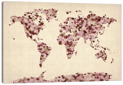 Vintage Hearts World Map Canvas Art Print