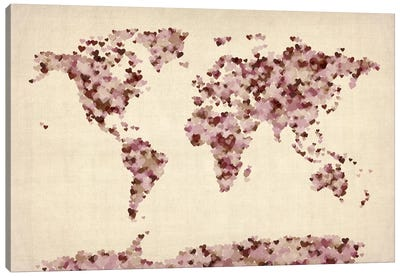 Vintage Hearts World Map Canvas Art Print